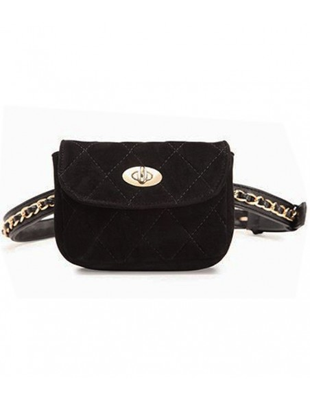 kviltad midjeväska i sammets med bälte med en guldkedjakedja kan även användas som en kviltad sammets clutch färg: svart