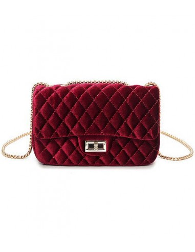 quilted velvet bag with chain shoulder-strap