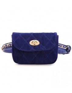 quilted velvet waist-bag with belt with gold-chain decoration, also usable like a velvet clutch