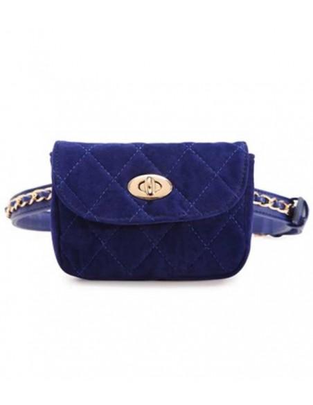Kviltad midjeväska i blå sammet med bälte med en guldkedja som dekoration kan även användas som en blå kviltad aftonväska.