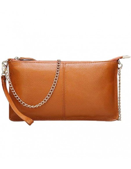 Leather clutch in real leader. wrist strap and shoulder strap in a gold chain.