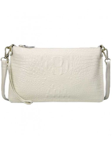 leather clutch in real leather, with strap and crocodile leather structure