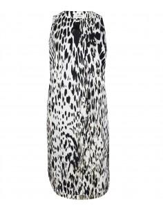 Klassisk tunica klänning i vit och svart mönstrat italienskt tyg