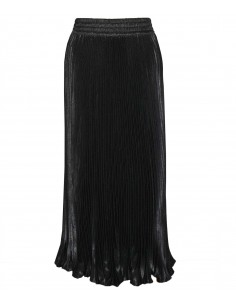 vonbon long black pleat skirt with metal color