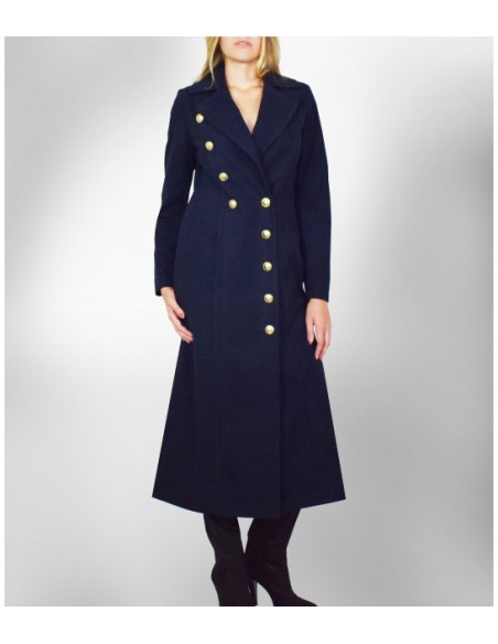VONBON Long curved coat. Darkblue italian velour fabric in a female figure shaped silhouette with gold buttons.