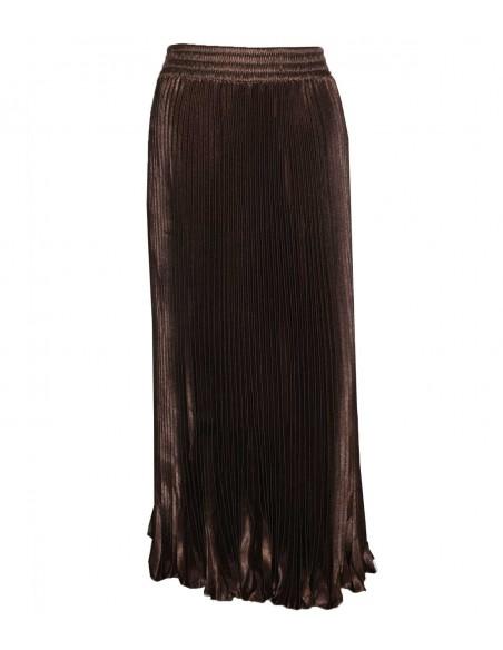 vonbon long black pleat skirt with metal color