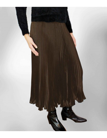 vonbon long brown pleat skirt with metal color
