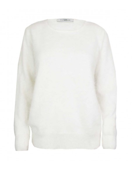 White cashmere sweater in 100% pure cashmere