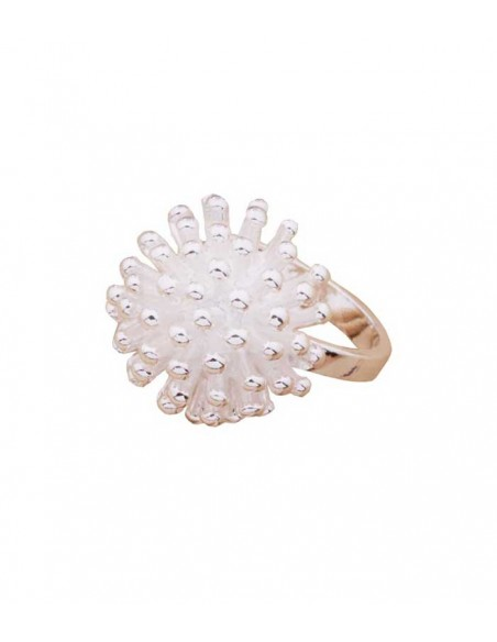 VONBON stor silver ring med en silver blomma