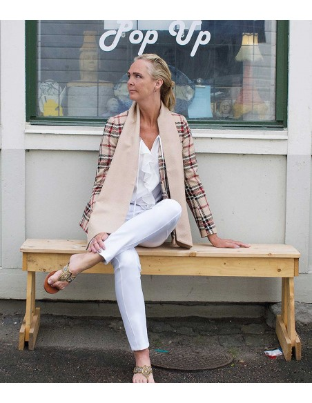 Check blazer with a scarf in contrast fabric, classic colors