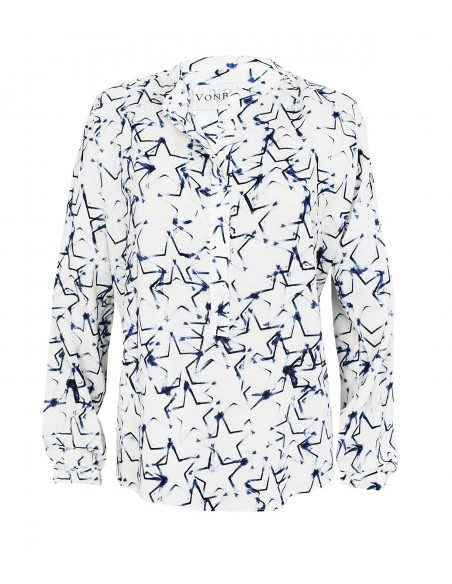 VONBON Viskos blus med stretch. Italienskt tyg i vitt och blått med tryck av stjärnor.