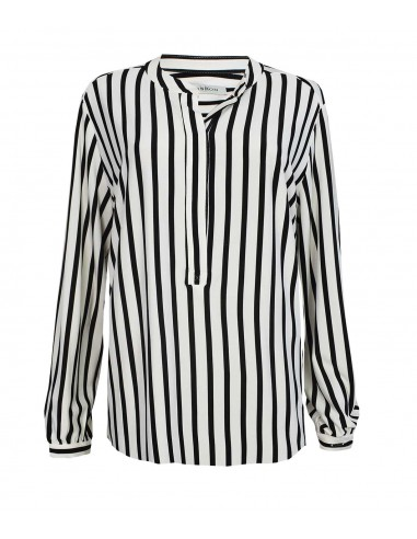 VONBON Jersey Blouse in knitted viscose and elastane. Stripes in pearl white and black.