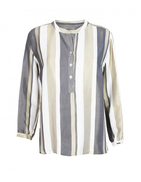 VONBON Shiny satin woven viscose blouse with stripes in white / gray / beige color.