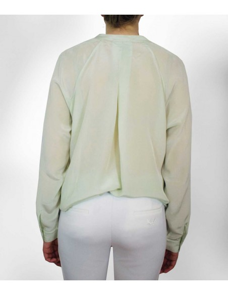 Light green silk blouse with long sleeves
