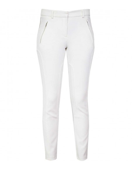White suit trousers with decoration seams, classic trousers in equestrian style