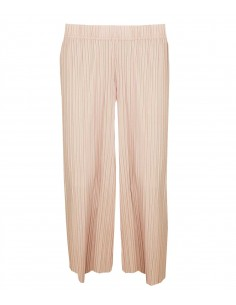 Pleated pants skirt with wide legs. For pants in light pink color, mimosa elastic at waist with many pleats