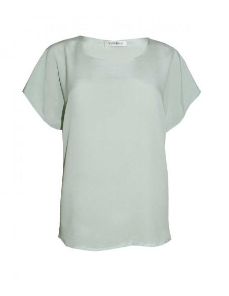 VONBON 100% Silk Blouse. Short sleeve silk top, silk blouse