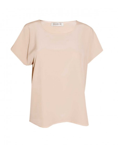 VONBON 100% Silk Blouse. Short sleeve silk top