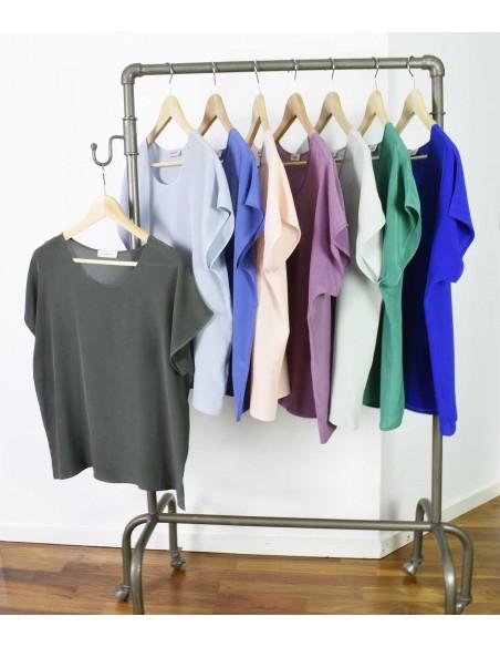 VONBON 100% Silk Blouse. Short sleeve silk top