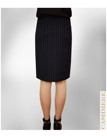VONBON pinstriped black wrap over skirt. Belongs to a suit. Italian cahmere.