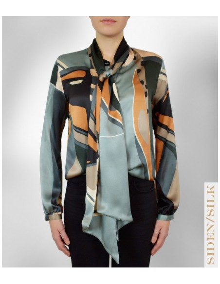 VONBON Silk blouse in Italian mulberry silk. Tied blouse with a big scarf. Mothers of pearl and multi colored fabric.