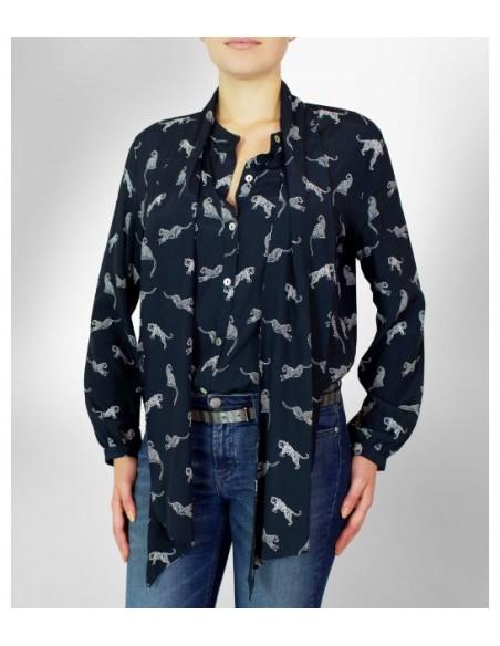 VONBON knytblus i viskos i mörkblå färg med tiger print, lång tillhörande scarf