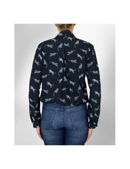 VONBON Tied blouse in viscose in darkblue color with tiger print
