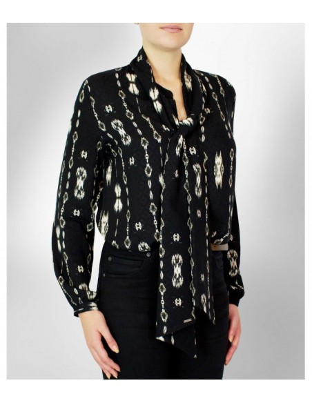 VONBON black tied blouse in viscose with print