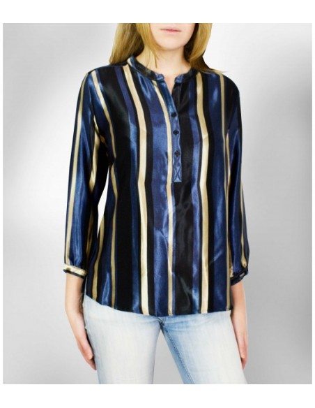 VONBON Shiny satin woven viscose blouse with stripes in black / blue / champagne color.