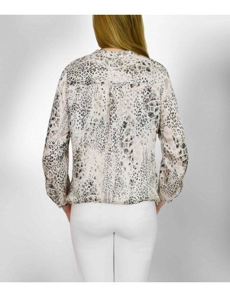 VONBON satin woven viscose blouse with snake print