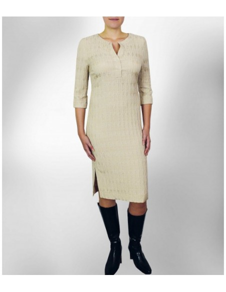 Nude colored jersey dress with fabric structure