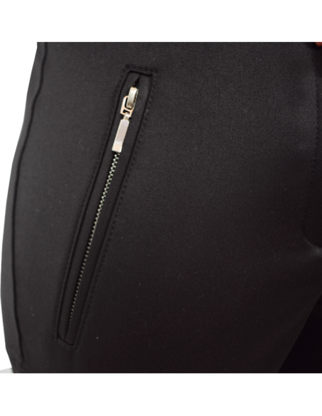 tight black suit trousers in equestrian style with decoration seams