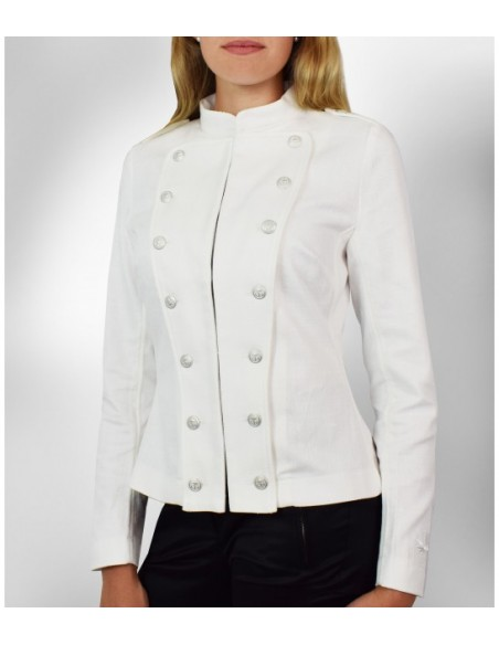 white orchestra jacket in cotton and with silver buttons for decoration