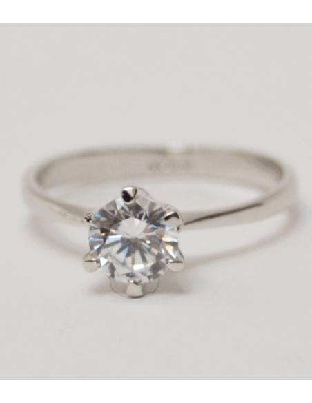 silver ring with a big diamond crystal from lilly and rose