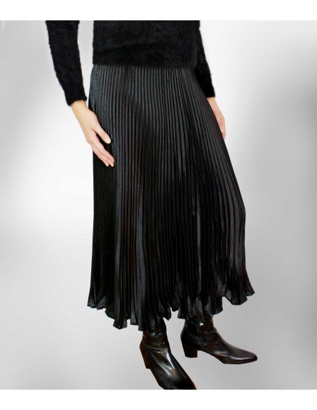 vonbon long pleat skirt with metal color