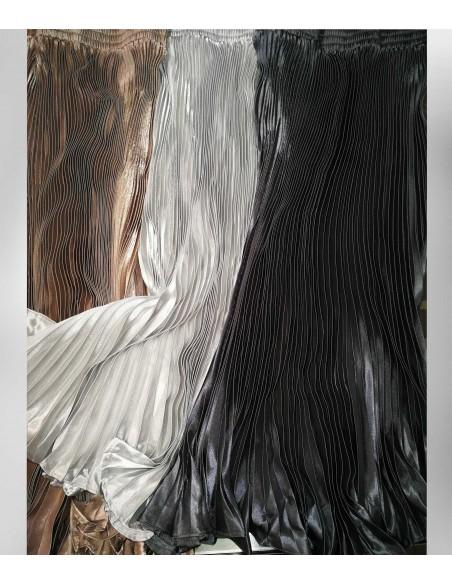vonbon Lång svart plisserad kjol i svart metall färg