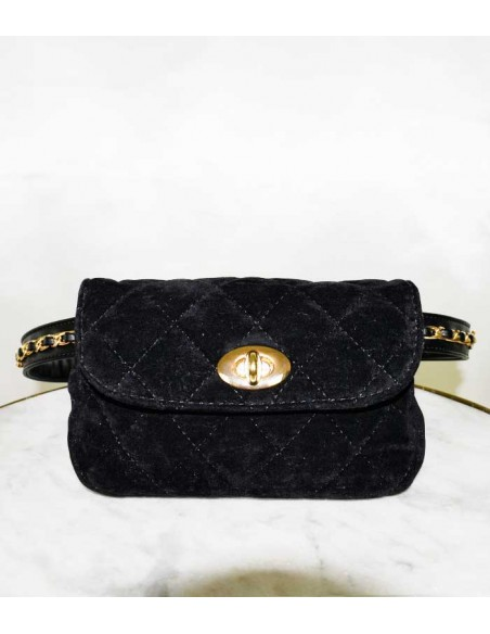 quilted velvet bag with chain, waist bag with belt