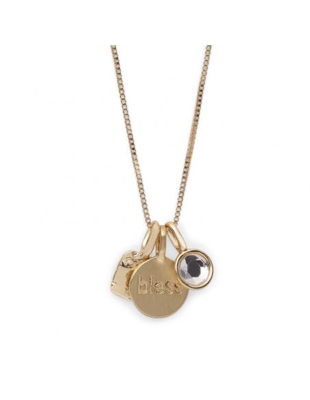 halsband från Pilgrim smycken i guld med text BLESS på berlocker. Halsband fortune