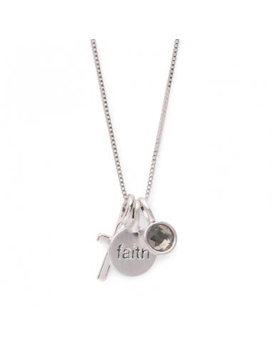 halsband från Pilgrim i silver med kors och texten faith, tro på berlocker. Halsband fortune