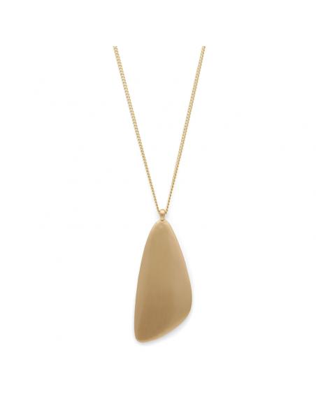 långt guld halsband från Pilgrim smycken med en stor berlock