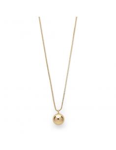 POE långt guld halsband från Pilgrim smycken med en stor berlock