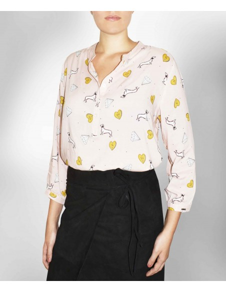 VONBON dusty pink viscose blouse with diamond print