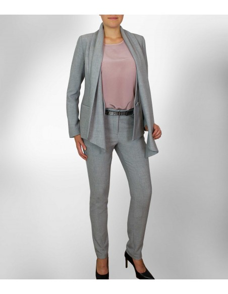 VVONBON Suit Blazer in grey melange color. Exclusive paisley pattern lining. Included a long scarf in shell fabric