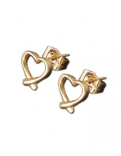 earrings in gold with a gold heart from Pilgrim jewelry VONBON