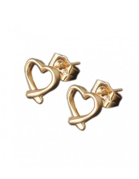 stift örhängen i guld med ett hjärta från Pilgrim smycken och VONBON smycken