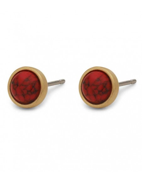 Pilgrim Jewelry - gold earrings with a ball in red stone