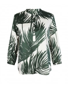 VONBON white viscose blouse with green palm leafs