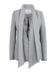 VONBON Suit Blazer in grey melange color. Exclusive paisley pattern lining. Included a long scarf in shell fabric