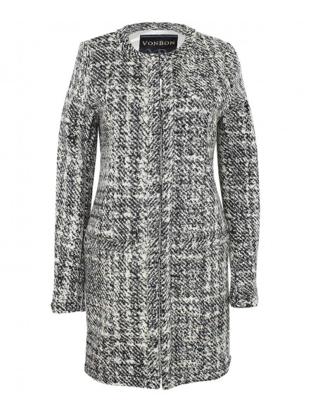 VONBON Italian knitted jacket, a blazer for indoor and outdoor. Virginwool in color gray and white.