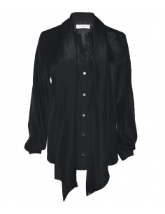 VONBON Silk blouse with a big scarf in black italian silk. Tied blouse. Buttons in mother of pearl.